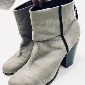 rag & bone Distressed Grey Leather Booties SOLDOUT